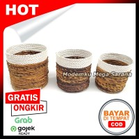 Set Vas Pot Bunga Anyaman Pelepah Pisang & Sintetis - Isi 3