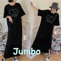 Long Dress Korea / Wanita / Jumbo / Bahan Kaos / ELEPHANT / Hitam