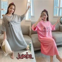 Long Dress Jumbo Wanita / Korea / Maxi Dress / Hitam / Big Size