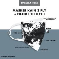 MASKER KAIN TIE DYE 3 PLY EARLOOP ( HITAM ) + FREE 5 FILTER