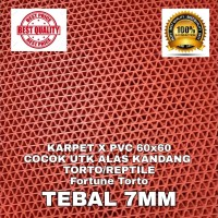 KARPET X PVC 60x60 MERAH TORTO REPTIL ALAS KANDANG SULCATA BEARDED