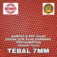 KARPET X PVC 40x60 MERAH TORTO REPTIL ALAS KANDANG SULCATA BEARDED