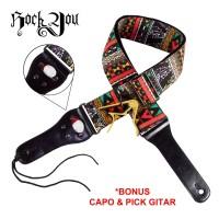 Strap Gitar Etnik BONUS Capo dan Pick Tali Sabuk Guitar Rock You S-765