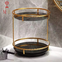RONDE Make Up Skincare Spinning Double Tier Organizer Marble Tray - Black Marble