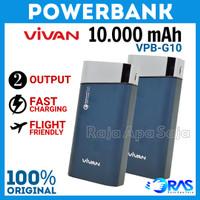 POWERBANK VIVAN 10000 MAH G10 - PB 10000mah Fast Charging 3 Output Ori