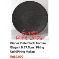 6Pcs-Dinner Plate Black Texture Elegant D.27.5cm Unik|Ekspor Murah