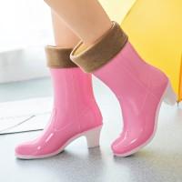 Sepatu boot stylish waterproof motif - Ankle pastel plain (Size 36-40) - Merah Muda