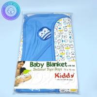 Selimut Topi Bayi Cotton Lembut Biru 75x75 cm - Baby Banket with Hat