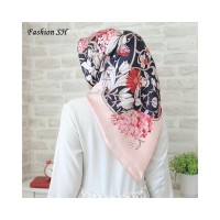 satin hijab Bunga Kerudung Jilbab Segi Empat Premium Square Motif L144