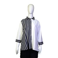 Tunik Wanita Color Block Garis - Garis