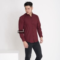 Kemeja Lengan Panjang Pria Merah Maroon Polos Casual Slimfit 3237