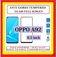 OPPO A92 6.5 INCH ANTI GORES TG TEMPERED GLASS KACA FULL BLACK 910600