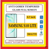 SAMSUNG S10 LITE SM-G770 ANTI TEMPERED GLASS KACA FULL BLACK 910615