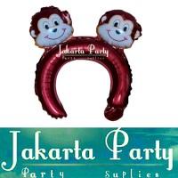 Balon Bando Karakter Monkey #2 / Animal Headband / Balon Foil Bando
