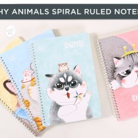 Plushy Animals Spiral Ruled Notebook A5