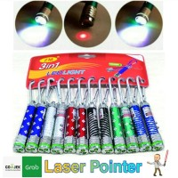 Laser Pointer Keychain 3in1 Ledlight/Gantungan Kunci Carabiner Senter