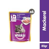 [isi 6 Pack] Whiskas Pouch 85gr Makanan Kucing Basah rasa Mackerel
