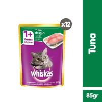 [isi 12 Pack] Whiskas Pouch 85gr Makanan Kucing Basah rasa Tuna