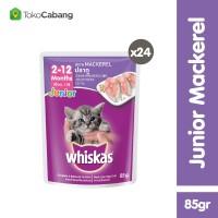 Whiskas Pouch Junior 85gr Makanan Kucing rasa Mackerel (24pcs)