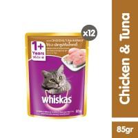[isi 12 Pack] Whiskas Pouch 85gr Makanan Kucing rasa Chicken & Tuna