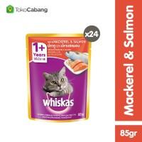 Whiskas Pouch 85gr Makanan Kucing Mackerel & Salmon (24pcs)
