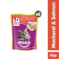[isi 6 Pack] Whiskas Pouch 85gr Makanan Kucing basah 2 rasa