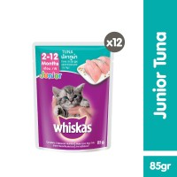 [isi 12 Pack] Whiskas Pouch Junior 85gr Makanan Kucing Basah rasa Tuna