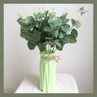 Artificial leaf Eucalyptus 4 Stem bunga palsu hijau hiasan tangkai