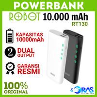 POWERBANK ROBOT 10000 mAh Power Bank RT130 Dual USB Original 10000mah - Putih