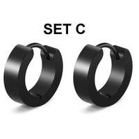 Anting Hitam Pria Wanita Earrings Titanium Steel Anti Karat 2pc Tindik