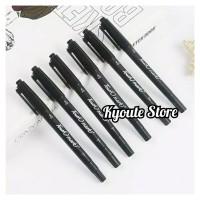 Black Spidol & Pen Marker Dual Tip Menulis Menggambar Drawing Pen