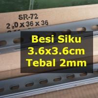 Besi Siku Lubang 1 Meter 3.6x3.6cm Tebal 2mm Untuk Rak - Gratis Potong