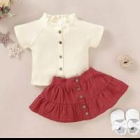 setelan rok bayi anak white red cantik imut