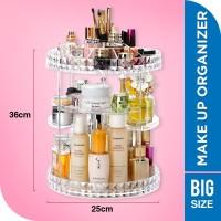 Rak Make Up Kosmetik Putar Organizer Acrylic 360 derajat Transparant