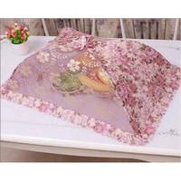Shabby lace food cover / tudung saji premium bunga - Purple