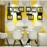 Wallpaper Sticker Segitiga Kuning Abu