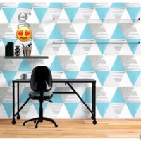 Wallpaper Sticker Segitiga Biru Abu