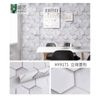 Wallpaper Sticker Batu Hexagonal Putih