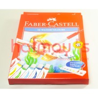 CAT AIR / WATER COLOUR FABER CASTELL 12 WARNA + KUAS + PALLETE