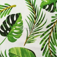 Kain Kanvas Tropical Green canvas bahan daun tropikal hijau palem