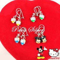 Silver 925-Anting kait Micky Mouse, Hello Kitty [ASLI]