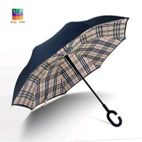 Payung Terbalik Yellow Plaid Gagang C - Reverse Umbrella