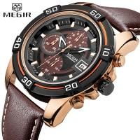MEGIR Jam tangan Quartz Pria ML2023 kasual Kulit/Leather Strap tahan