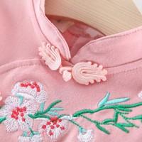 Dress Retro Lengan Panjang Motif Bordir Bunga Plum Etnik untuk Musim