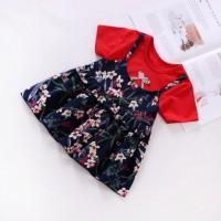 Dress Musim Semi Lengan Panjang Motif Print Bunga untuk Bayi