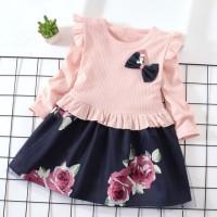 Dress Musim Gugur Lengan Panjang Motif Print Bunga Bahan Katun Mesh