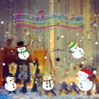 Stiker Desain Snowman Kecil Musik untuk Dekorasi Ruang Tamu /