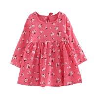 Bunga Dress Princess Katun Casual Anak Perempuan Lengan Panjang