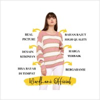 Terlaris Sweater Rajut Wanita Baju Sweater Stripe Atasan Rajut Sweeter