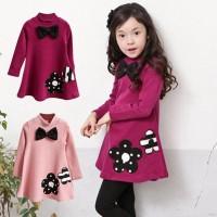 Dress Casual Lengan Panjang Motif Bordir Bunga Aksen Pita untuk Anak